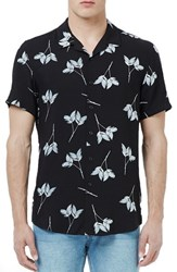 Men's Topman Leaf Print Short Sleeve Woven Sport Shirt