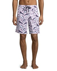 Vilebrequin Okoa Shark Print Swim Trunks Pink Sharks