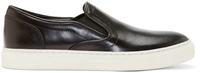 Balmain Black Leather Slip On Sneakers