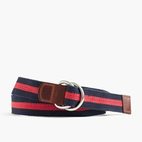 J.Crew Striped Woven Cotton Belt Navy Red