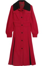 Burberry Prorsum Ribbed Knit Trimmed Crepe Dress Red
