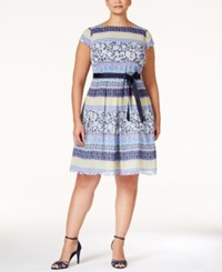 Sl Fashions Plus Size Printed Belted Fit And Flare Dress Bright Blue Print