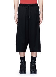 Feng Chen Wang Drape Side Drop Crotch Wool Shorts Black