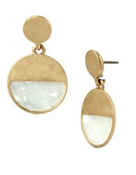 Kenneth Cole Palm Desert Shell Circle Drop Earrings White