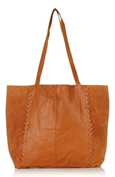 Topshop 'Woody' Whipstitch Detail Leather Shopper Bag Brown Tan