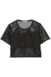 Jonathan Simkhai Cropped Mesh And Space Dyed Jersey Top Black
