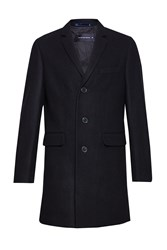 French Connection Men's Melton Wool Tailored Coat Black