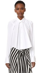 Tome Cropped Oversized Gathered Shirt White