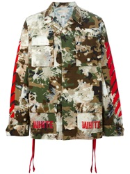 Off White Camouflage Print Cargo Jacket Green