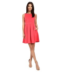 Jessica Simpson Solid Bow Back Dress With Neck Trim Watermelon Women's Dress Pink