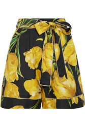 Dolce And Gabbana Printed Silk Twill Shorts Yellow
