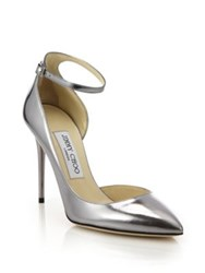 Jimmy Choo Lucy 100 Metallic Leather Ankle Strap Pumps Silver