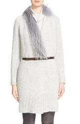 Women's Fabiana Filippi Belted Sweater Coat With Genuine Fox Fur Trim