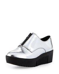 Opening Ceremony Spectator Metallic Leather Zip Front Oxford Silver