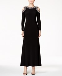Betsy And Adam Petite Embellished Cold Shoulder Gown Black Silver