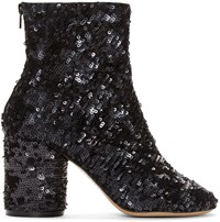 Maison Martin Margiela Black Sequin Sock Boots