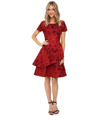 Nue By Shani Jacquard Dress With Tiered Fit And Flare Skirt Red Women's Dress
