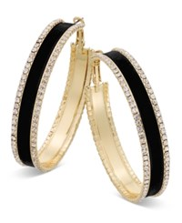 Thalia Sodi Gold Tone Metal Mesh And Crystal Hoop Earrings Only At Macy's Black Velvet