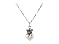 King Baby Studio Micro Crowned Heart Pendant On 18' Micro Rolo Chain