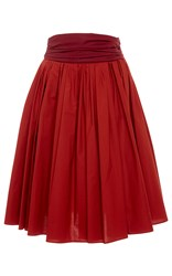 Paule Ka Cotton Poplin Full Skirt With Pockets And Ruched Waistband Burgundy