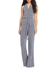 Lauren Ralph Lauren Striped Halter Neck Jumpsuit Navy White