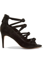 Alexandre Birman Knot Suede Sandals Black