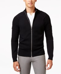 Inc International Concepts Men's In The Dark Full Zip Sweater Only At Macy's Deep Black