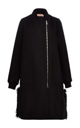N 21 No. Oversized Quilted And Fur Trimmed Coat Black