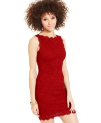 Jump Juniors' Sleeveless Lace Dress Red