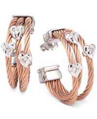 Charriol Women's Malia White Topaz Accent Two Tone Pvd Stainless Steel Cable Hoop Earrings 03 221 1220 1 Rose Gold