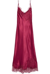 Carine Gilson Lace Trimmed Silk Satin Nightdress Burgundy