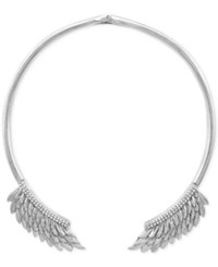 Bcbgeneration Silver Tone Feather Collar Necklace
