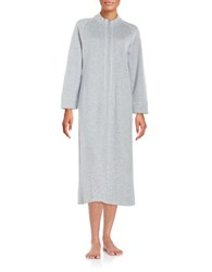 Carole Hochman Petite Quilted Front Zip Robe Grey
