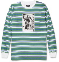 Stussy Laura Striped Cotton T Shirt Green