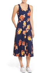 Hinge Floral Print Dress Blue