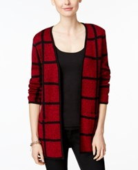 Charter Club Windowpane Open Front Cardigan Only At Macy's New Red Amore Combo