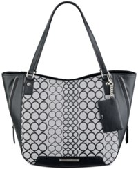 Nine West 9'S Jacquard Carryall Hobo White Black
