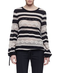 Chloe Striped Lace Long Sleeve Sweater Navy White Navy Wht