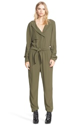 Belstaff Satin Crepe Jumpsuit Military Green