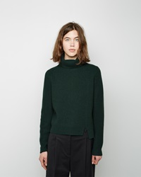 Proenza Schouler Side Slit Cashmere Turtleneck Dark Green