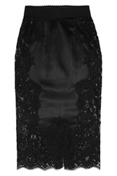 Dolce And Gabbana Stretch Silk Blend Satin And Lace Pencil Skirt