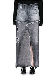 Tortoise Distressed Patchwork Denim Maxi Skirt Black