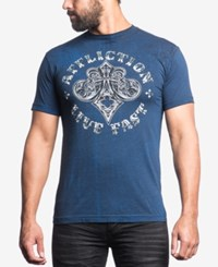 Affliction Men's Royal Connect Graphic Print T Shirt Navy