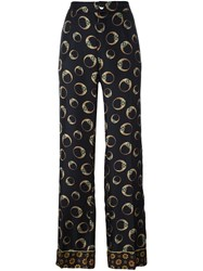 For Restless Sleepers 'Leopard' Print Straight Trousers Black