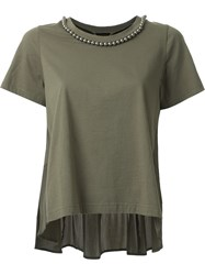 Muveil Embellished Collar Pleated T Shirt Green
