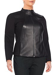 Lafayette 148 New York Laura Leather And Ponte Jacket Black
