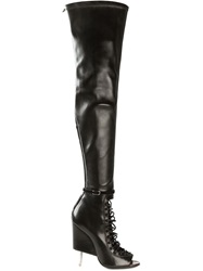 Givenchy Laced Thigh High Boots Black