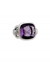 Poiray Indrani 18K White Gold Cushion Cut Amethyst Ring Purple