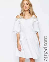 Asos Petite Premium Embroidered Off Shoulder Sundress White