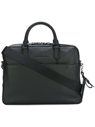 Emporio Armani Grained Leather Briefcase Black